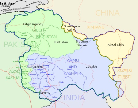 Kashmir Map-India and Pakistan