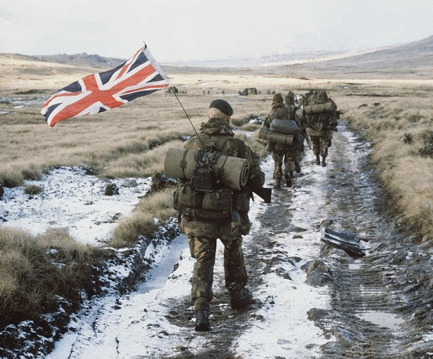 British Soldiers in the Falkland Islands War