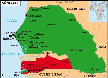Senegal Map with Casamance in Red