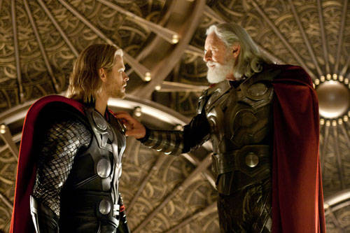 Thor Movie Picture with Anthony Hopkins and Chris Hemsworth
