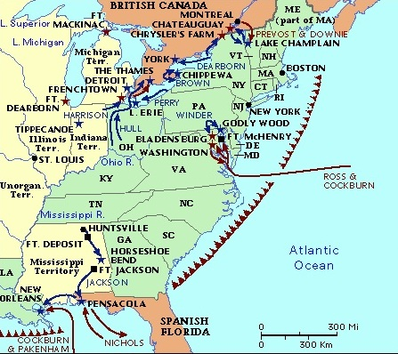 Map Of America In 1812.The History Guy The War Of 1812 1812 1815