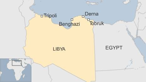 Libya-Egypt Border Map Showing Where Derna Is Located