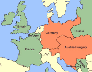 World War One Map of Europe 1914